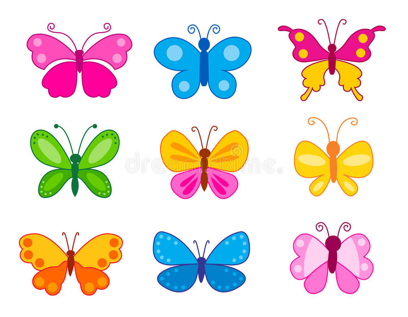 Set of colorful butterflies. Isolated on white background vector illustration