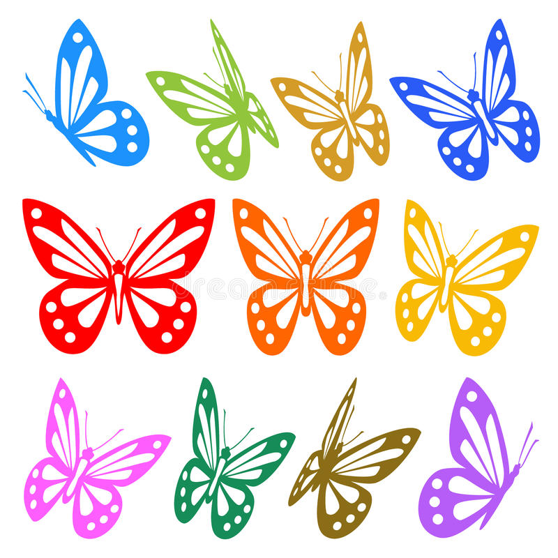 Set of colorful butterflies silhouettes vector illustration