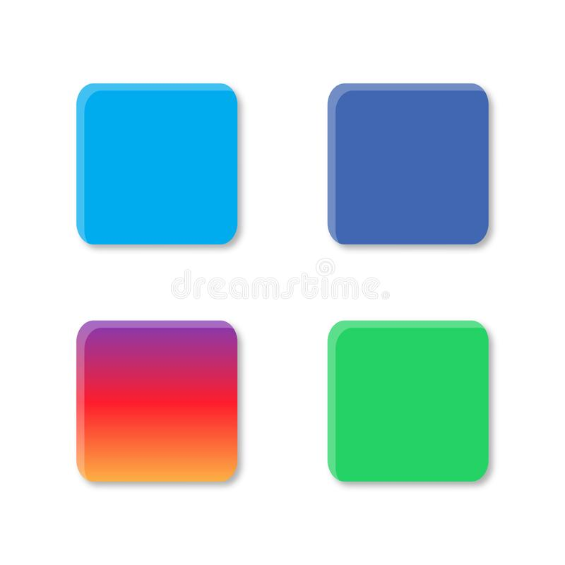 Set colorful buttons simple colors social media green blue gradient EPS 10 stock illustration