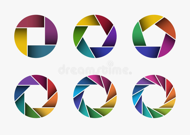 Set of colorful camera lens aperture icons. Set of colorful camera lens aperture icons isolated on light background. Camera objective icon. Shutter icon. Focus stock illustration