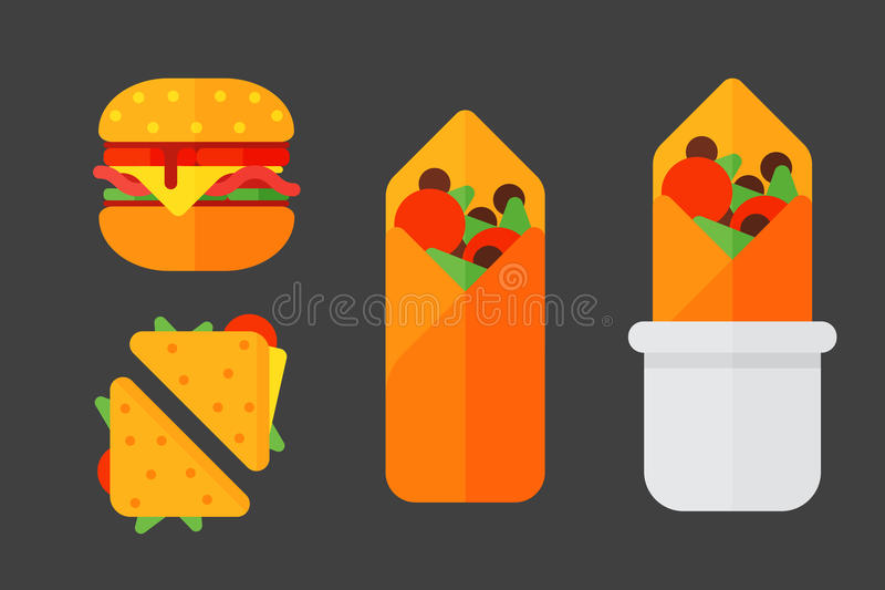 Set of colorful cartoon fast food icons isolated restaurant tasty american cheeseburger meat and unhealthy burger meal royalty free illustration