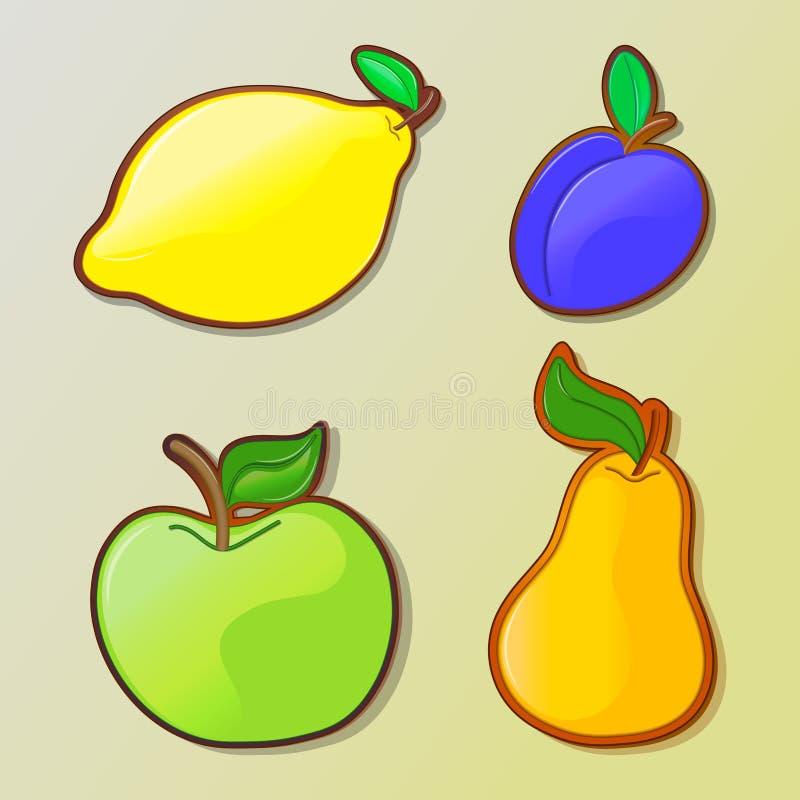 Set of colorful cartoon fruit icons stock photo