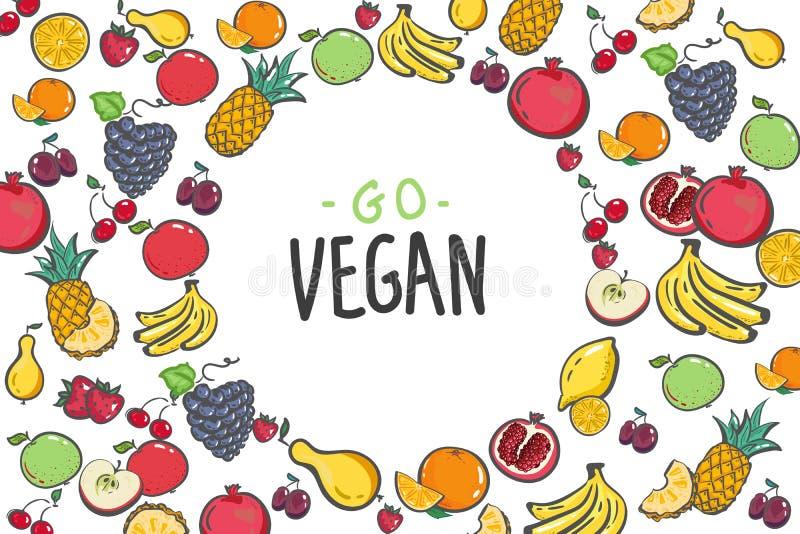 Set of colorful cartoon fruit icons: apple, pear, strawberry, orange, plum, banana, pineapple, grapes, cherry, lemon vector illustration