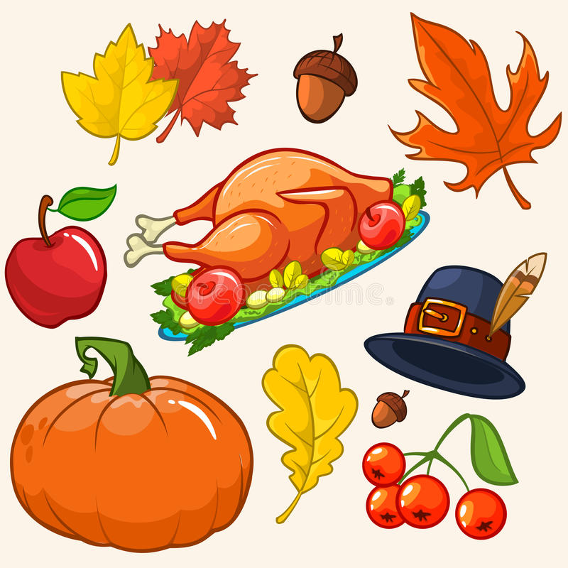 Set of colorful cartoon icons for thanksgiving day royalty free illustration