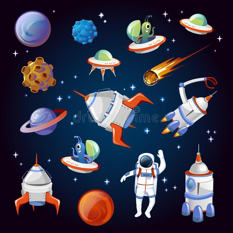 Set of colorful cartoon space elements. Aliens, planets, asteroids, spaceships, stars and astronauts. Universe vector vector illustration