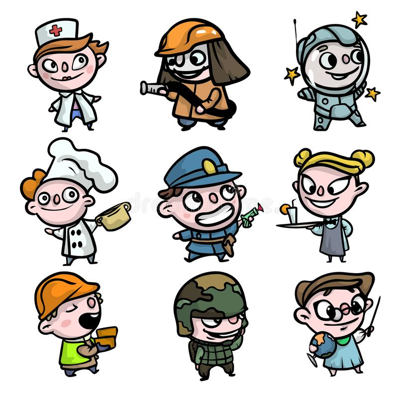 Set of colorful characters of kids, different clothes profession. Funny moments. Cartoon style. Vector illustration on white background royalty free illustration