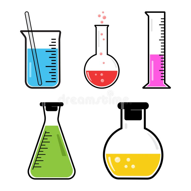 Set of colorful chemical vessels. Vector illustration. Colorful set chemical vessels isolated. Vector illustration stock illustration