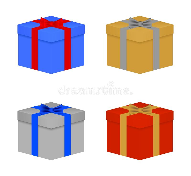 Set of colorful Christmas gifts tied blue, red, gold and silver ribbon and bow tie. Closed birthday gift with a lid on a white bac vector illustration