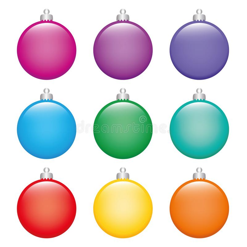 Set of colorful Christmas tree balls on white background vector illustration