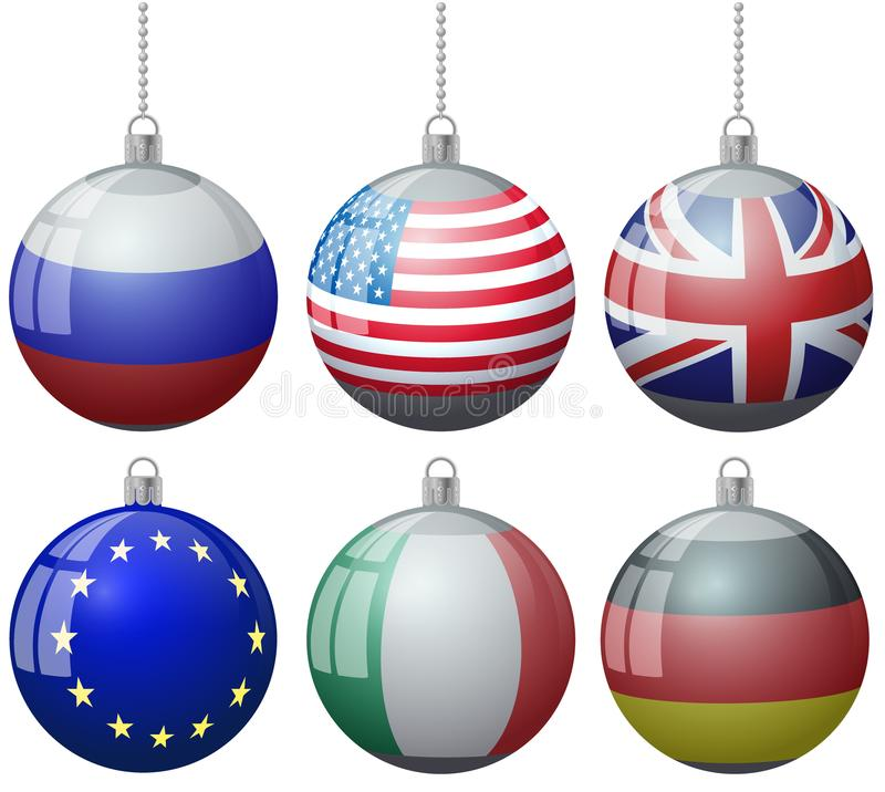 Set of colorful Christmas tree vector ornament balls with USA Russia Great Britain flags with ball chain ribbon. US England Europe stock illustration