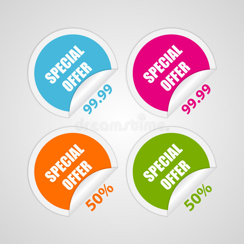 Set colorful circle special offer stickers. Vector illustration stock illustration