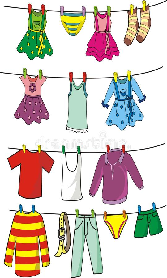 Set of clothes hanging on clothes line. Set of colorful clothes hanging on clothes line royalty free illustration