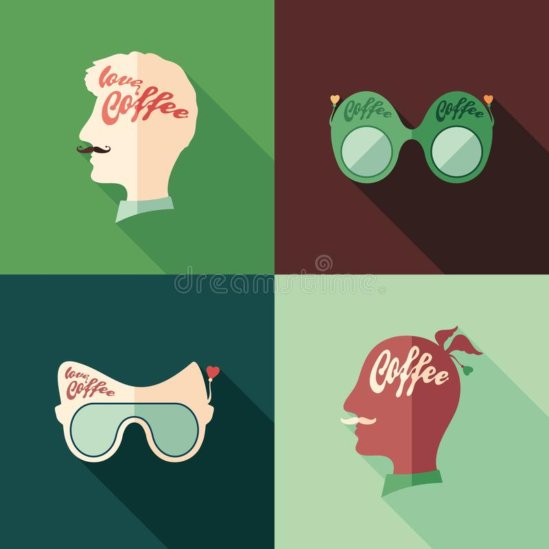 Set of colorful coffee flat square icons with long shadows. vector illustration