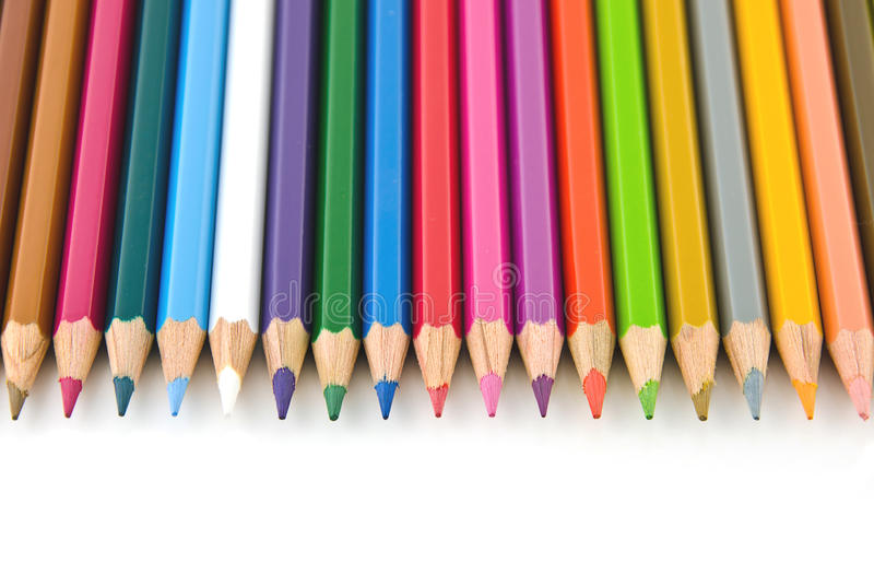 Download Set Of Colorful Color Pencil Lined In Row Stock Image - Image: 21979021