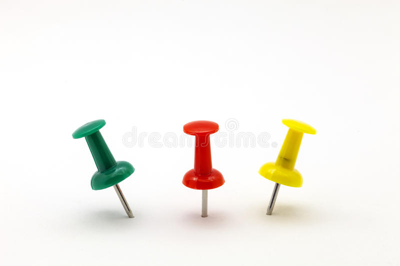 Set of colorful color push pins isolated on white background. royalty free stock photo