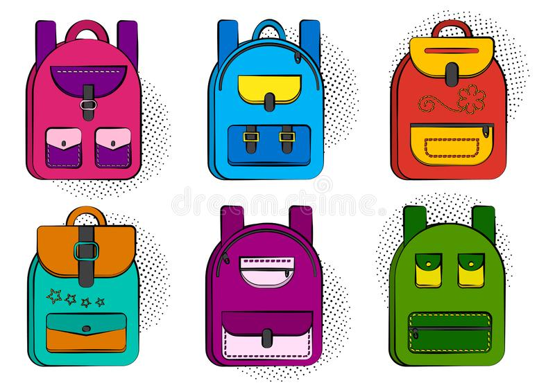 Set of colorful comic school backpacks with halftone shadow in pop art style. Vector. Illustration royalty free illustration