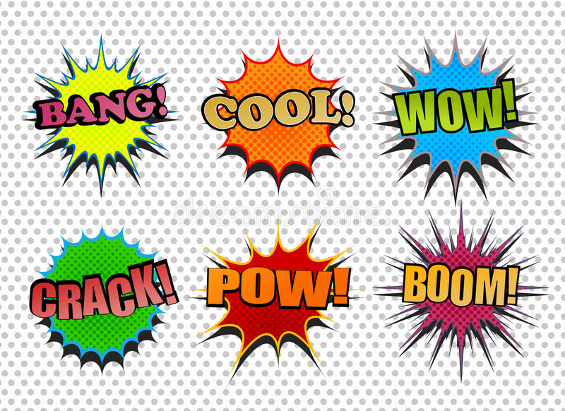 Set of colorful comic speech bubbles royalty free illustration