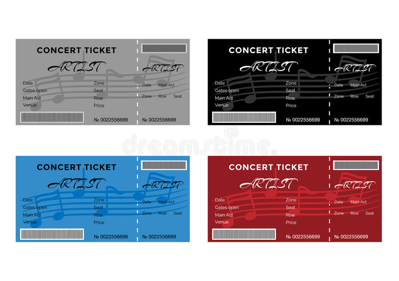 Set of Colorful Concert Tickets with Musical Notes vector illustration