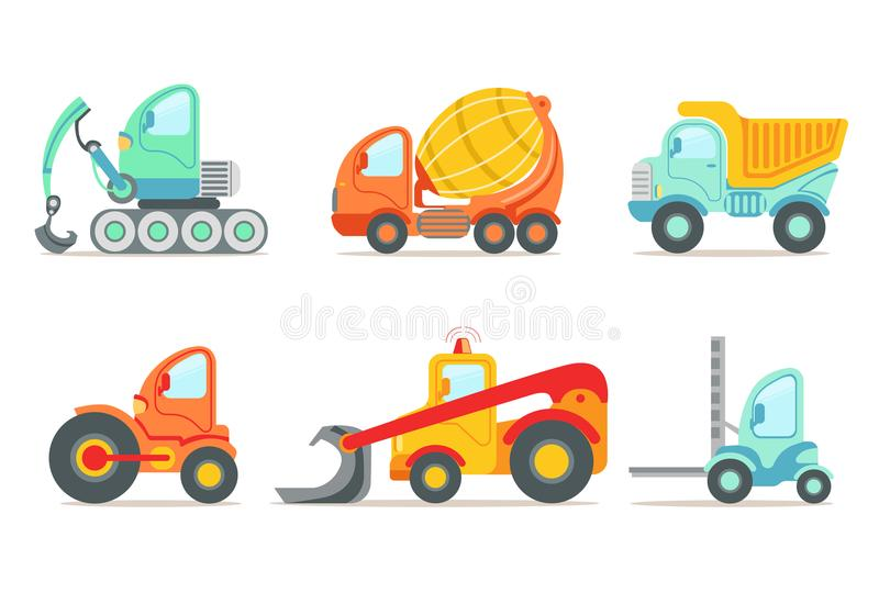 Flat vector set of colorful construction and cargo vehicles. Concrete mixing truck, large dumper, excavator, road stock illustration