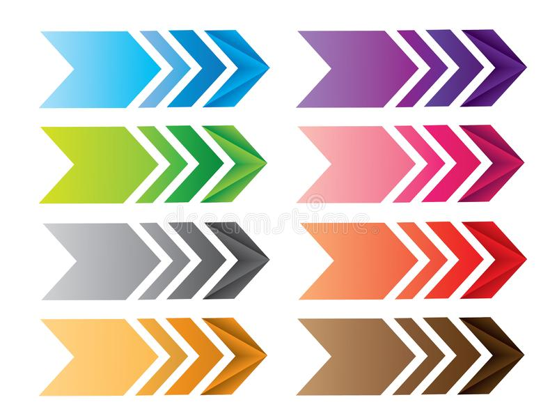 A set of colorful cool arrow pointers for direction stock illustration