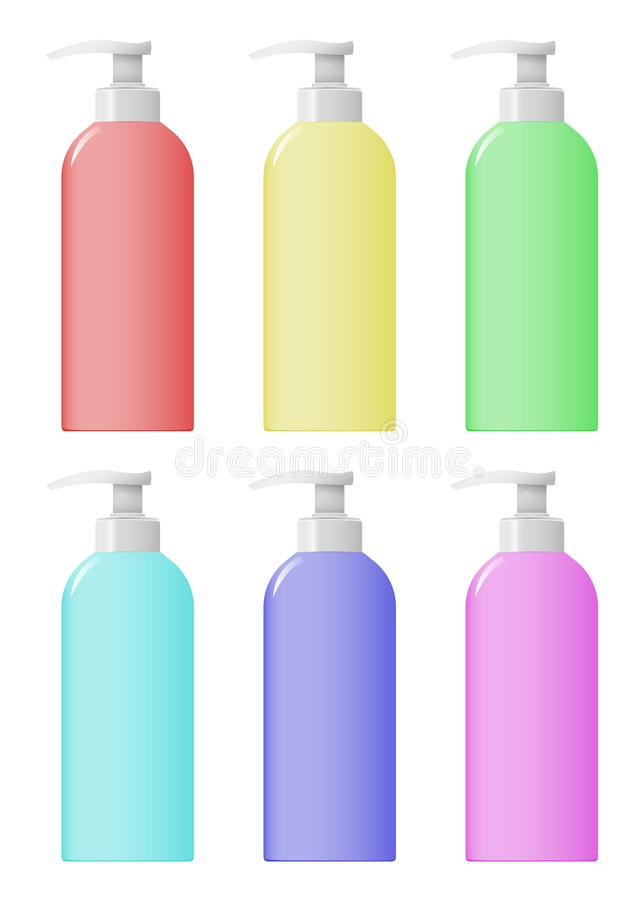 A set of colorful cosmetic bootleg bottles. Design Beauty Products royalty free illustration