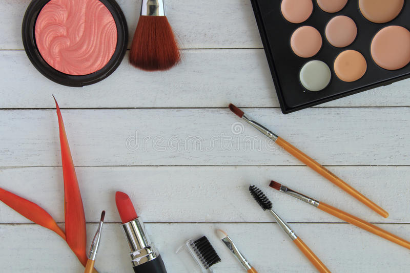 Set of colorful cosmetics stock photos