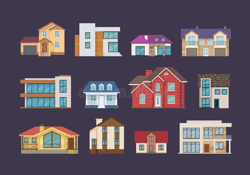 Set of colorful country houses, cottages, holiday mansions, hotels, guesthouse. royalty free illustration