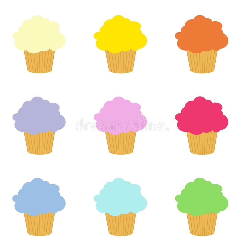 Set of colorful cupcakes clip art royalty free stock photos