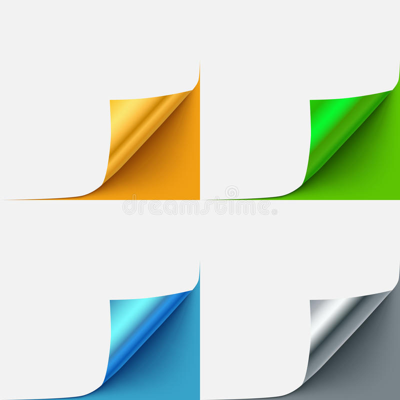 Set of colorful curled vector paper corners royalty free illustration