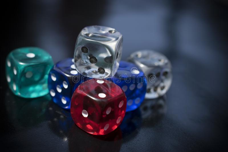Colorful D6 Dice royalty free stock photo