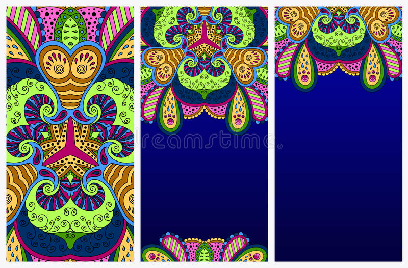 Set of colorful decorative postcards. vector illustration