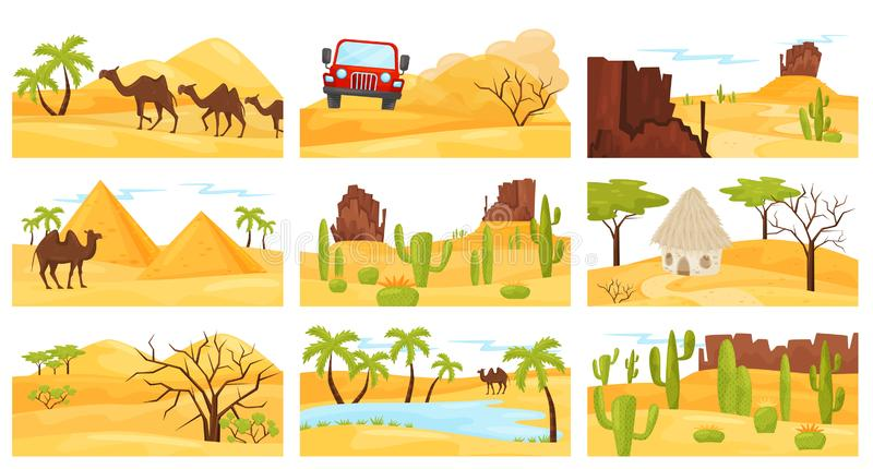 Flat vector set of colorful desert landscapes with camels, rocky mountains, pyramids and car. Flat vector design stock illustration