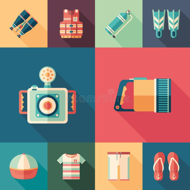 Beach leisure set of flat square icons with long shadows. vector illustration