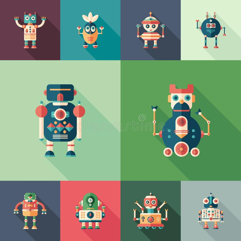 Friendly robots set of flat square icons with long shadows. royalty free illustration