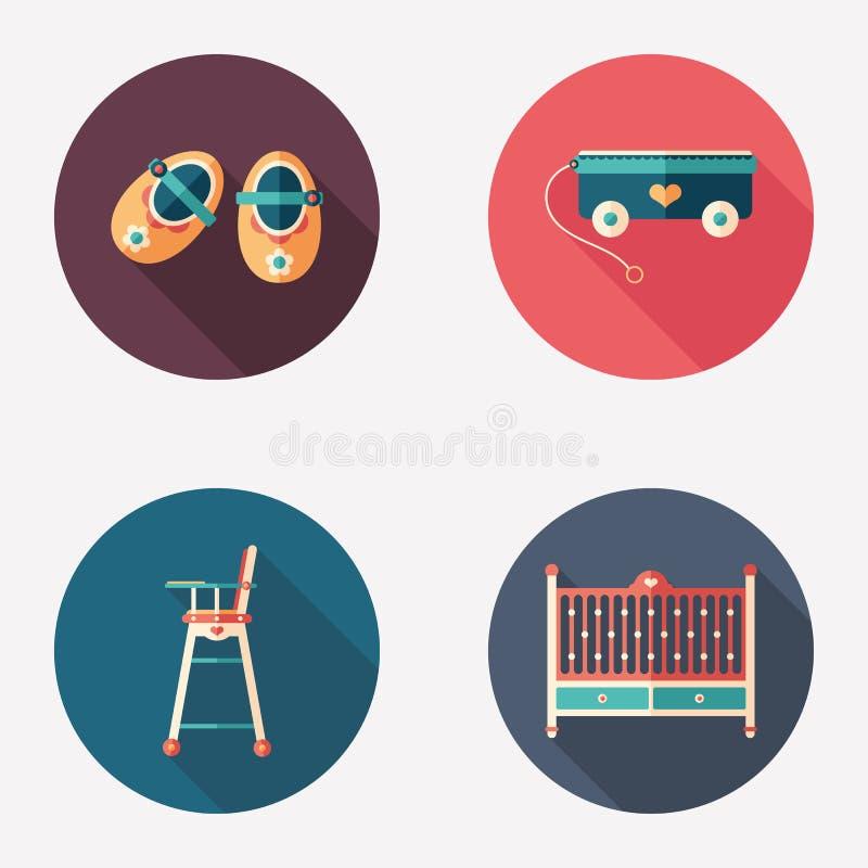 Happy childhood flat round icon set. vector illustration