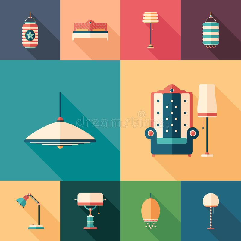 Home interior set of flat square icons with long shadows. royalty free illustration