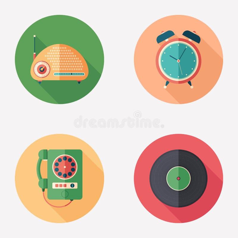 Retro items flat round icon set. stock illustration
