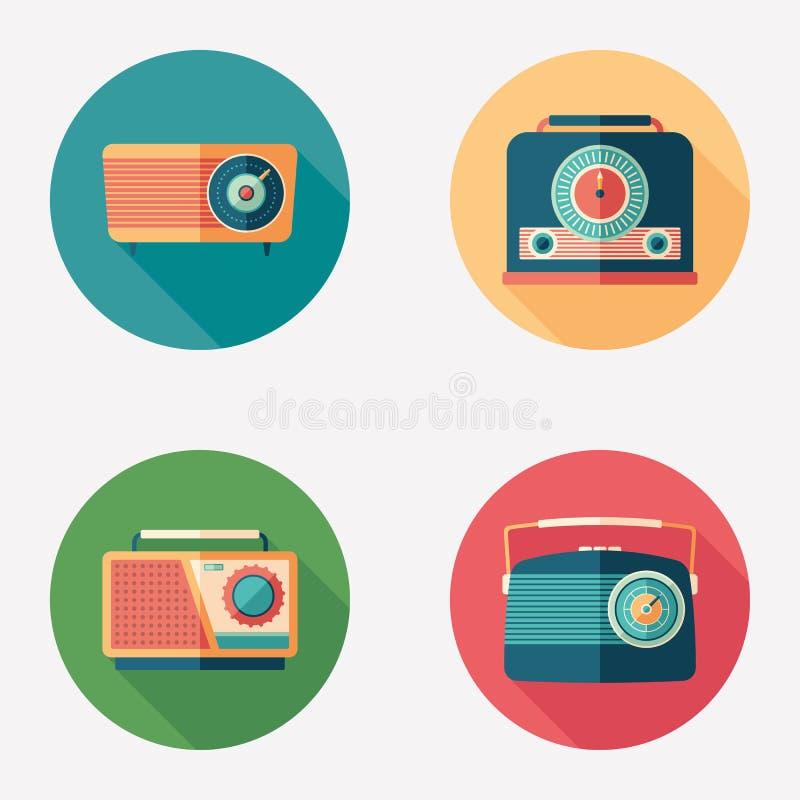 Retro radio flat round icon set. vector illustration