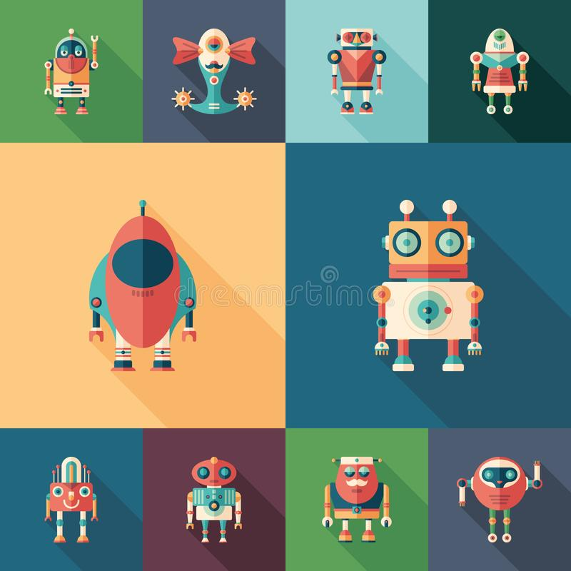 Space robots set of flat square icons with long shadows. royalty free illustration