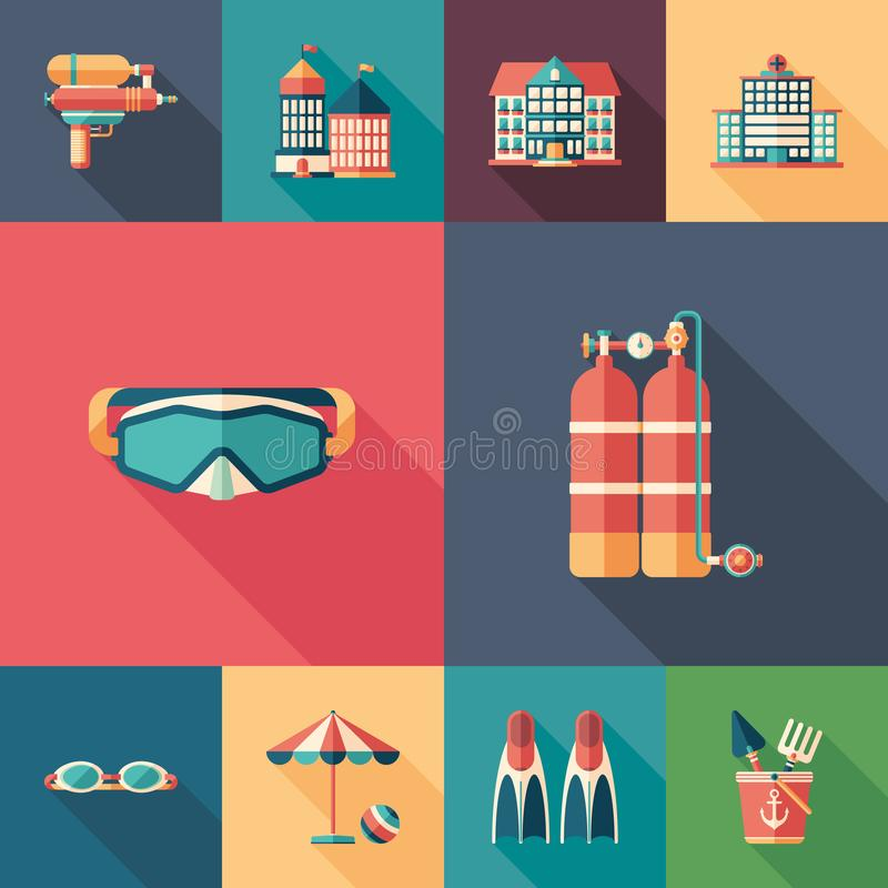Summer rest set of flat square icons with long shadows. royalty free illustration