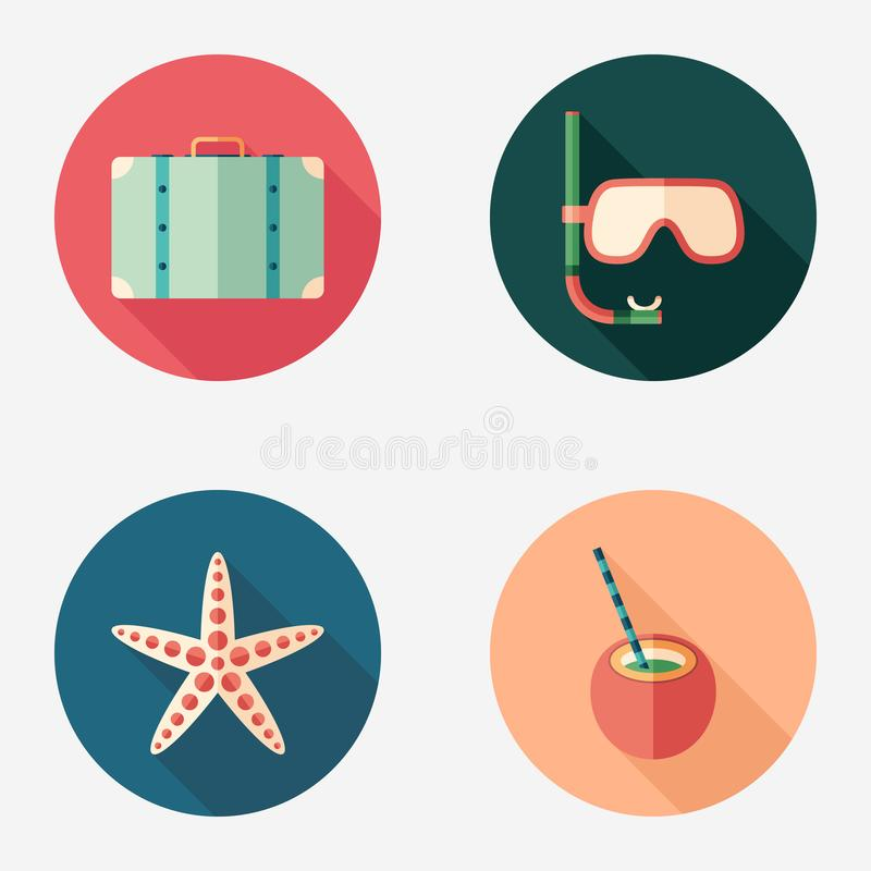 Summer time flat round icon set. stock illustration