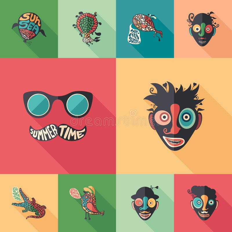 Summer time set of flat square icons with long shadows. vector illustration