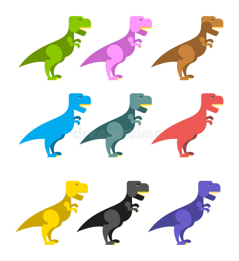 Set of colorful dinosaurs. Tyrannosaurus Rex. Cute animals prehistoric period. Big scary reptile. Angry ancient Predator t-rex dinosaur vector illustration
