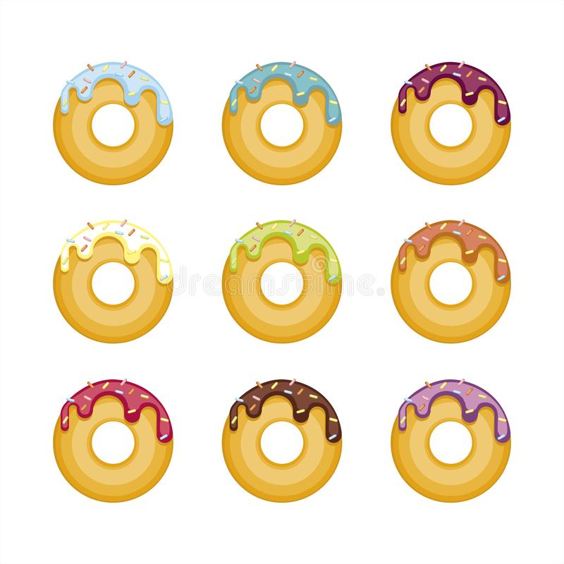 Set of colorful donuts isolated on white background. Top View Donuts collection in bright glaze vector illustration