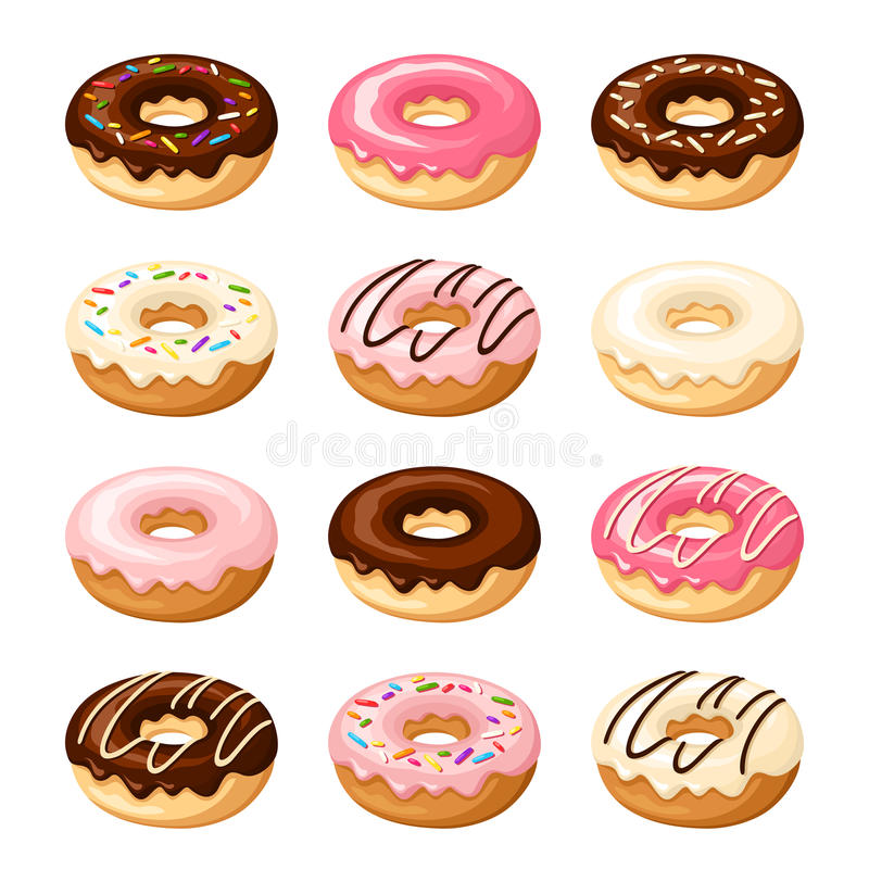 Set of colorful donuts. Vector illustration. stock illustration