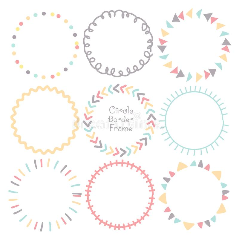 Set of colorful doodle borders circle frame, Decorative round frames. stock illustration