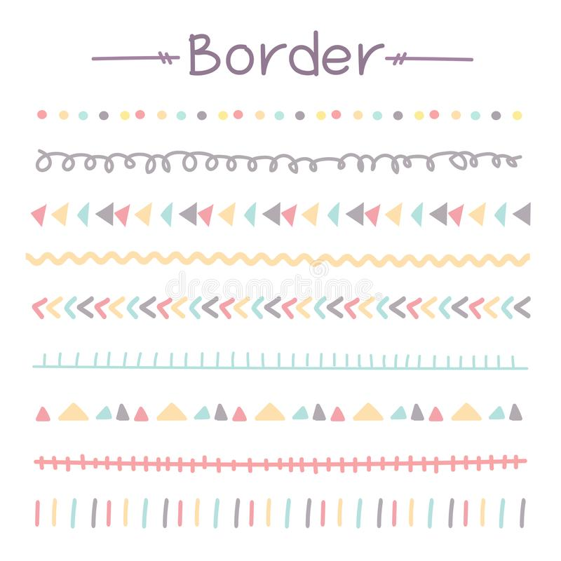 Set Of Colorful Doodle Borders. vector illustration