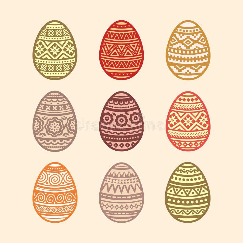 Set of colorful Easter eggs. Vector illustration in flat design. stock illustration