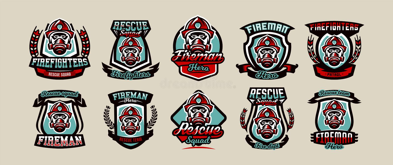 Set of colorful emblems, icons, logos, fire department, firefighter, helmet and mask, vector illustration. Set of colorful emblems, icons, logos, fire royalty free illustration
