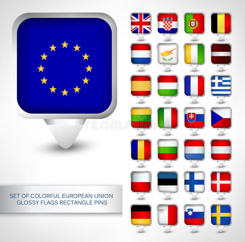 Set of colorful EU glossy flags rectangle pins royalty free illustration